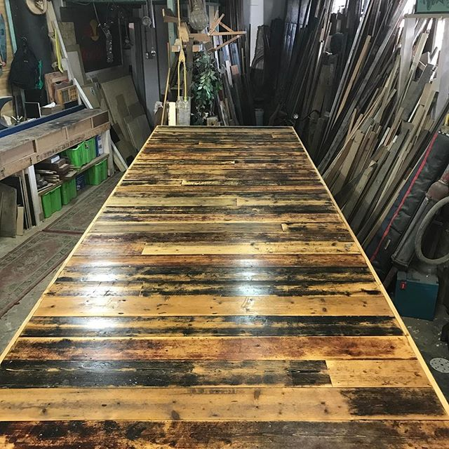 This monster 5 meter long by 1.5 meter wide recycled Baltic pine table top is going to new home in the next couple days.