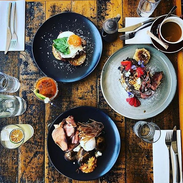 This is one of our recycled Kauri pine tables with the fantastic food @neighbourhoodbondi go past and have a feed and check them out !