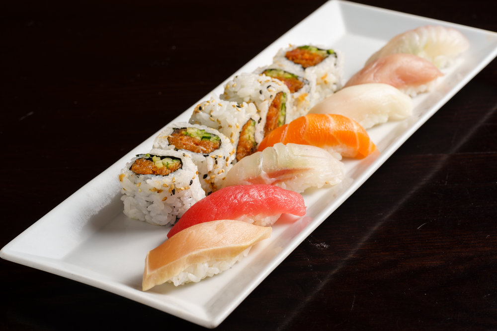 Spicy Tuna Roll and Assorted Sashimi