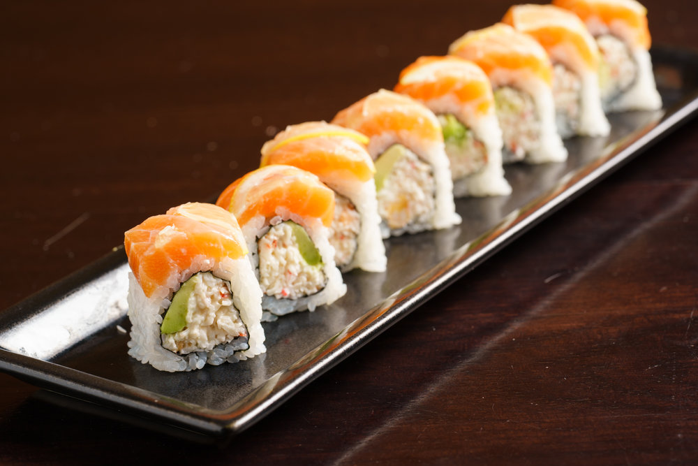 Snow Crab and Avocado Roll Topped with Salmon