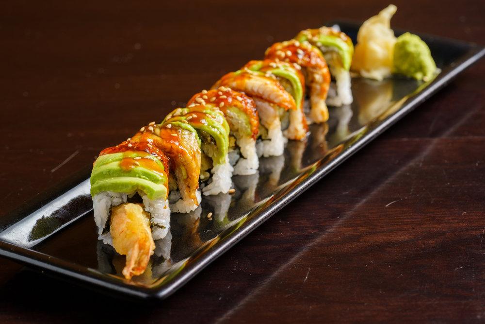 Shrimp Tempura Roll Topped with Unagi and Avocado