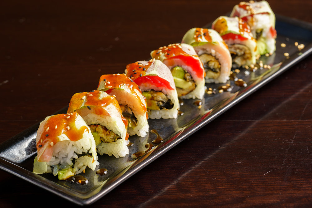 Unagi Avocado Roll Topped with Yellowtail and Tuna