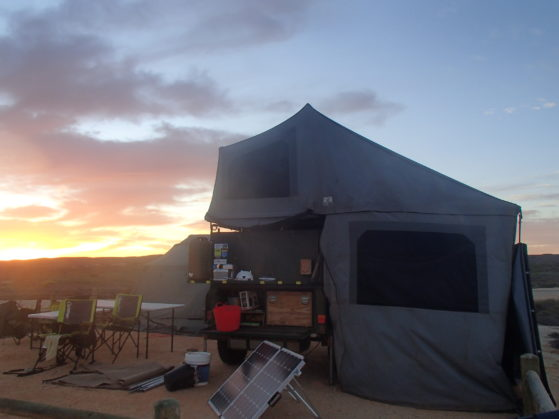 Camper trailer and solar panels in Exmouth