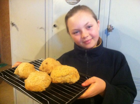 Kids can cook feshly baked bread