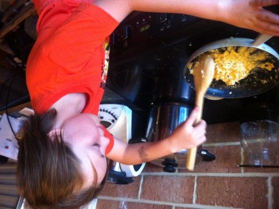Kids cook scrambled eggs