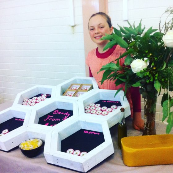 Make a difference- Ash selling her lip balm at the 'Yes You Can' conference