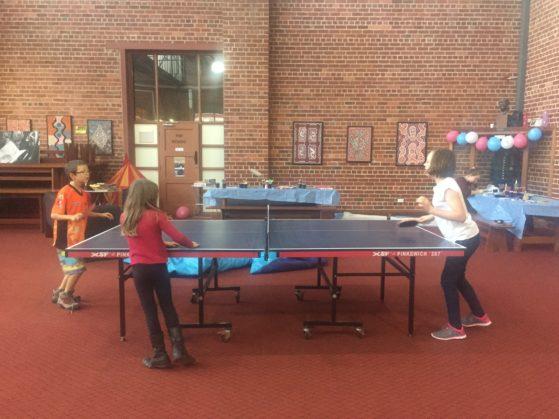 Homeless: Enjoying table tennis in the kids corner