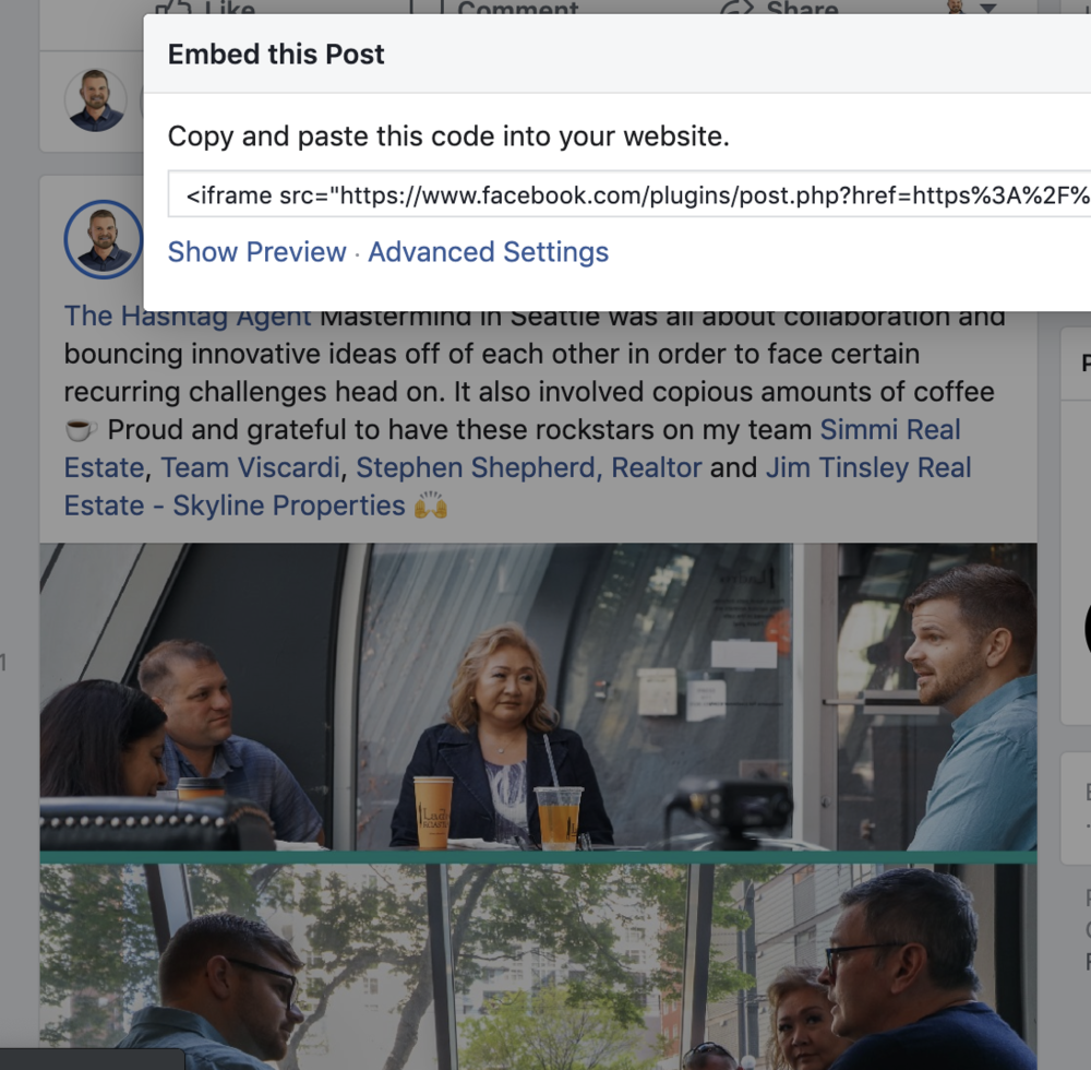 Cross post   You can embed a post onto your website so when people click the post on your website, they are taken to your Facebook Page