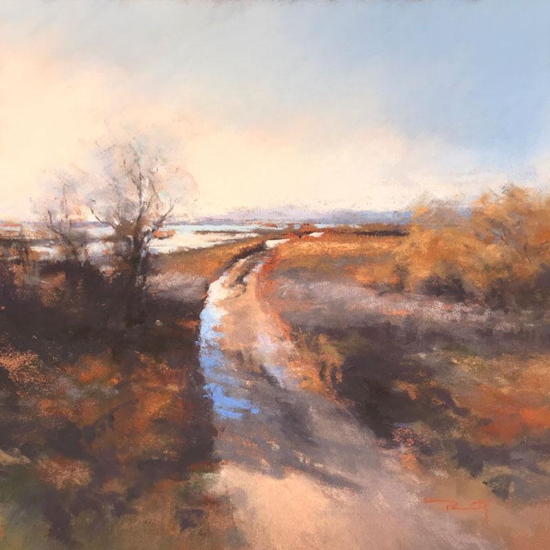 Chemin des Étangs, Bages | Pastel sec, 32x32 cm