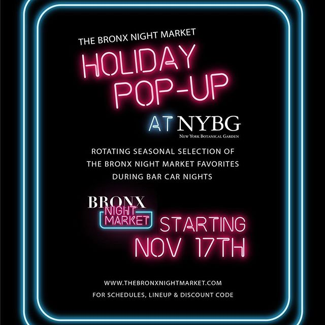 We are here at New York Botanical Garden today from 7PM - 10:30PM for the @thebronxnightmarket holiday pop up, their Bar Car Night event! This is a 21+ event, come enjoy some drinks and amazing food!