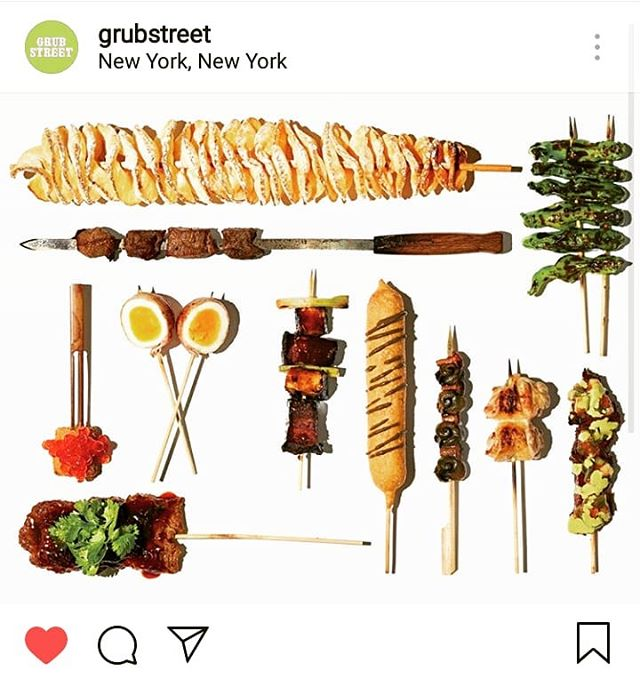 Thanks to @grubstreet for featuring us in an article on new trendy foods on skewers!  Everything taste better #onastick . Don't you agree?