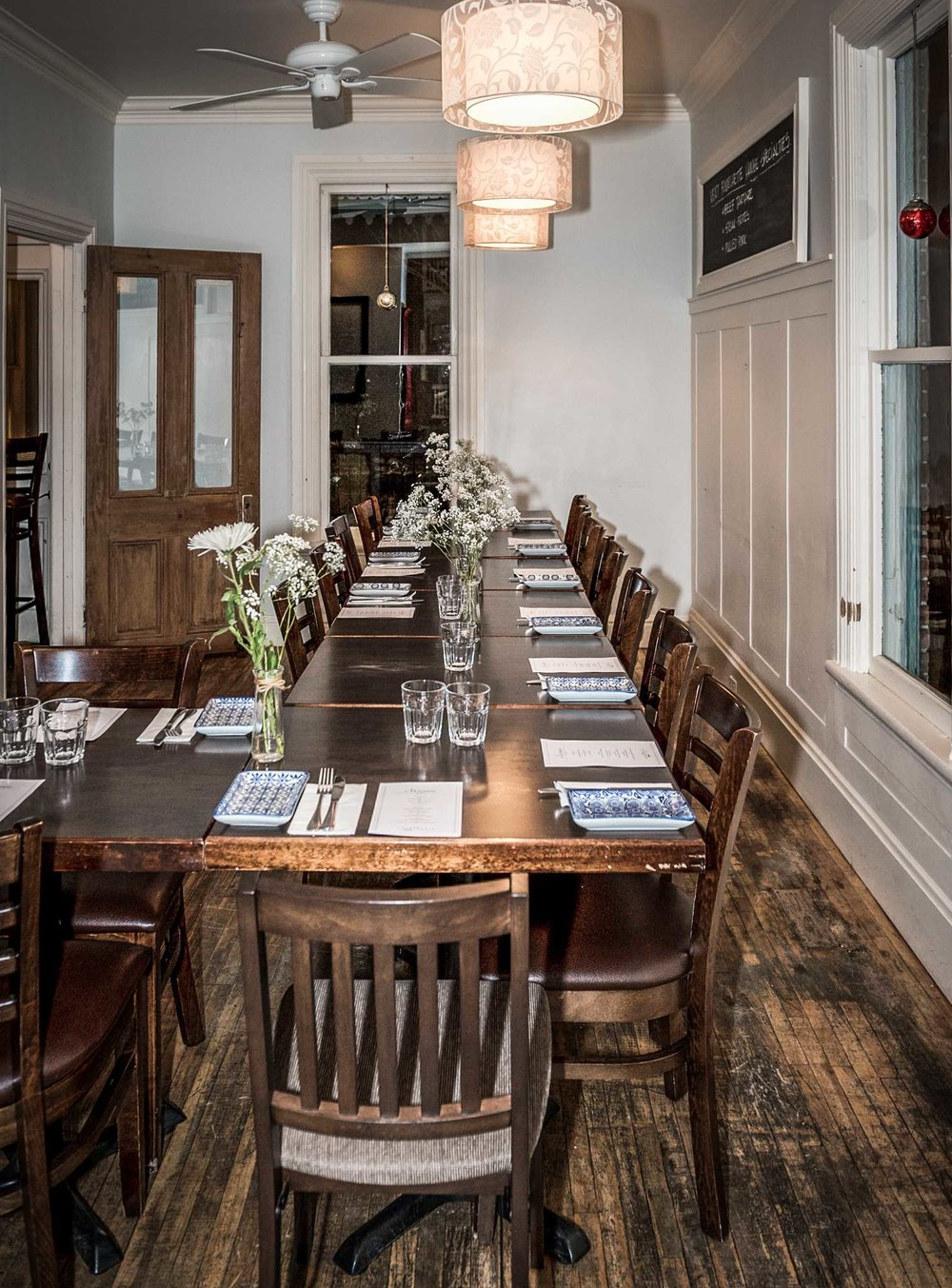 [private dinning] - Our restaurant transforms into a Private Dining setting on selected evenings.(Sunday through Thursday – winter)(Sunday through Friday – summer)[minimums]We do require a minimum of 15 guests to reserve the restaurant for a private event (36 guests max). If your numbers fall short of the required number – a minimum spend may be applied. Our hostesses will contact you 24 hours prior to the function in order to confirm numbers. You may be charged for confirmed guests who do not attend.[menus]The menu for your event will be created and personalized to best suit the needs and preferences of your party, while keeping in mind any potential dietary restrictions. The starting cost of a private table d'hôte is 60$.[special occasions]It will be our pleasure to personalized your evening with a special wine or champagne. Fees may apply.Our bakery can bake a special cake for your occasion. If you wish to bring your own, a 5$ per person plating fee will be applied.