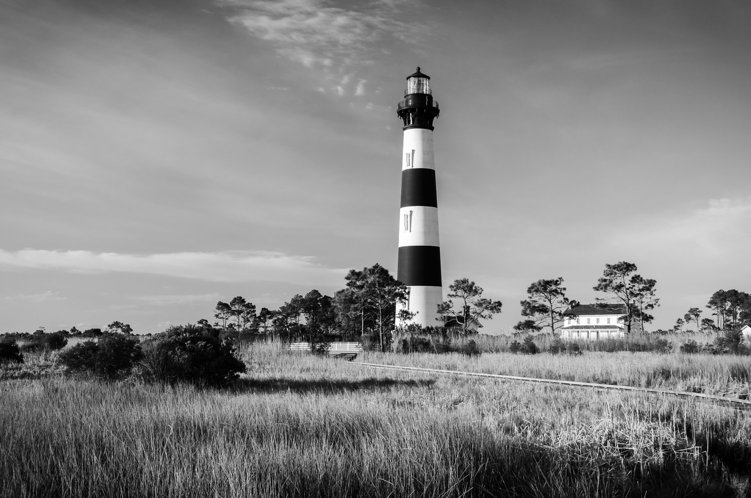 Bodie island light black and white