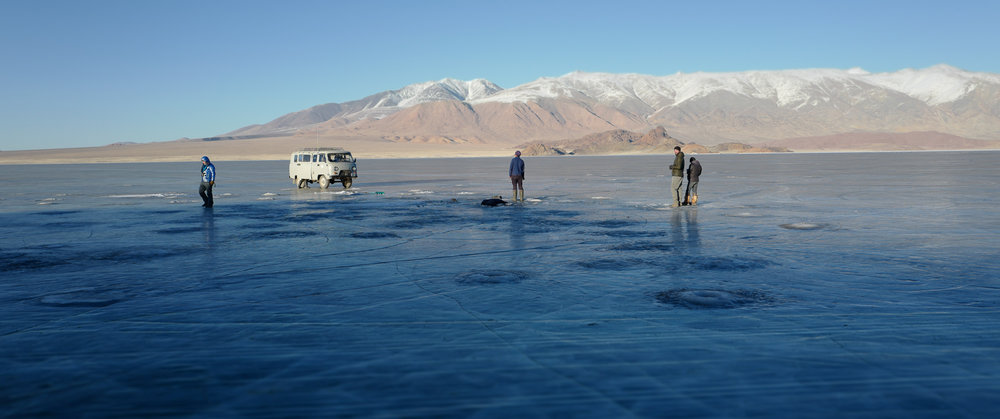 """We heard about a frozen lake near Bayan Olgii in Mongolia, so we said, """"Heck, yes! Let's go fishing!"""""""