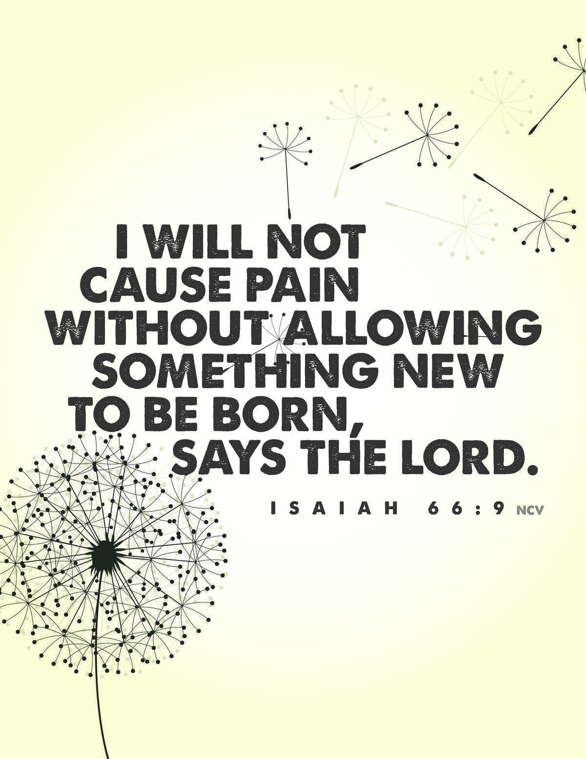 I will not cause pain without allowing something new to be born, says the Lord. - Isaiah 66:9