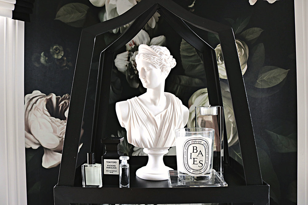 kelle dame interiors ellie cashman wallpaper diptyque candle black and white.jpg