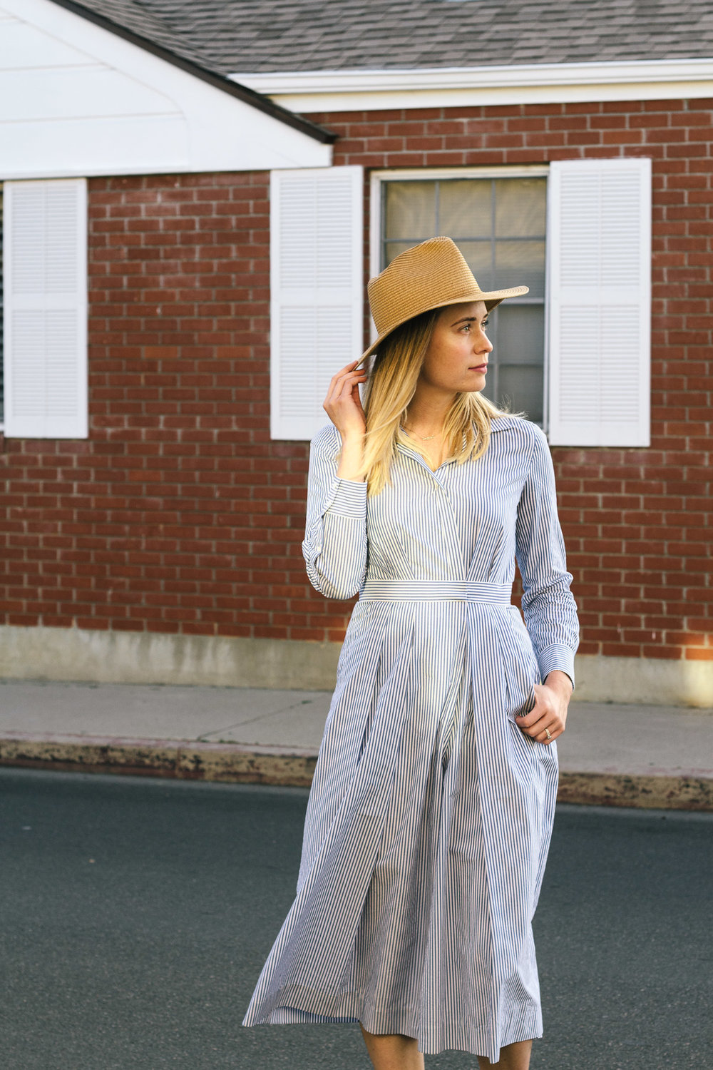 blue and white striped wide leg jumpsuit