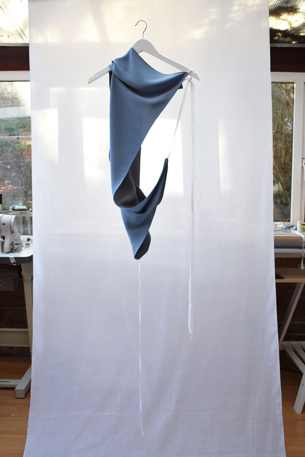 Skyblue Abstract Scarf Top