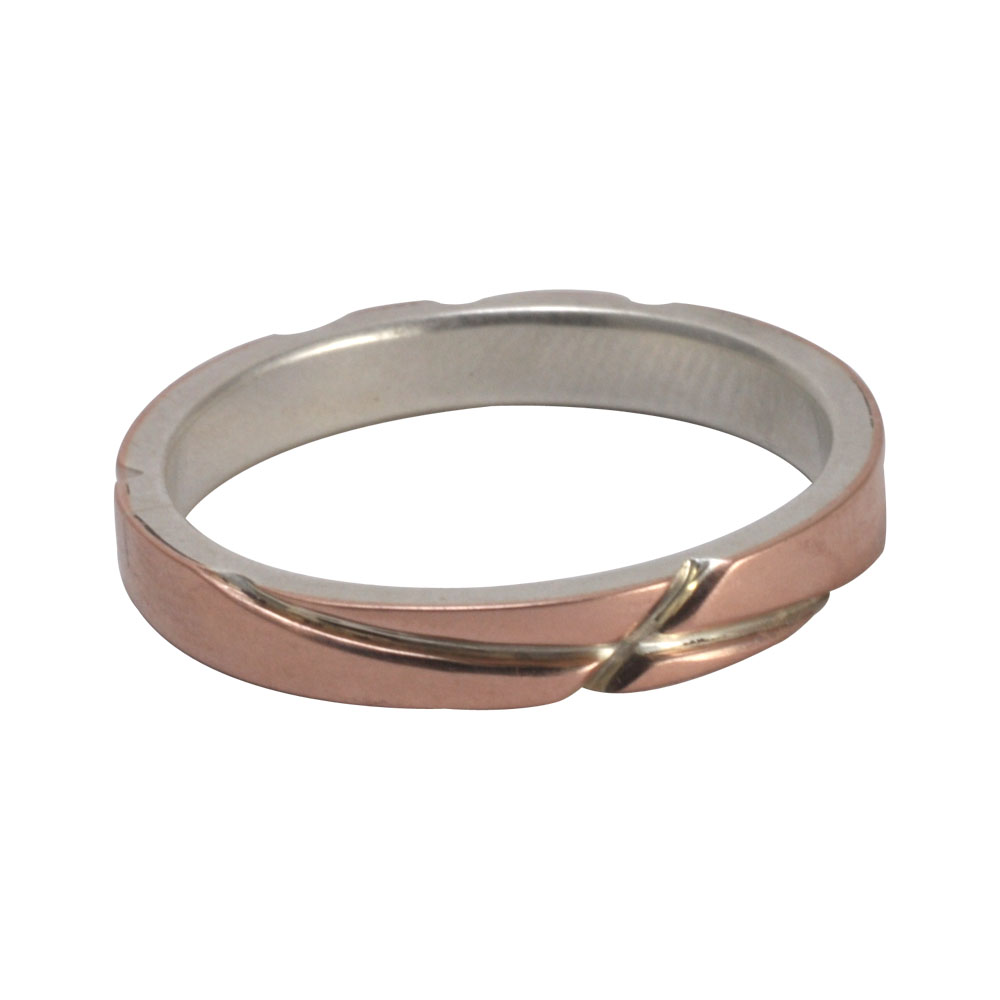 groove cross rose gold silver ring.jpg