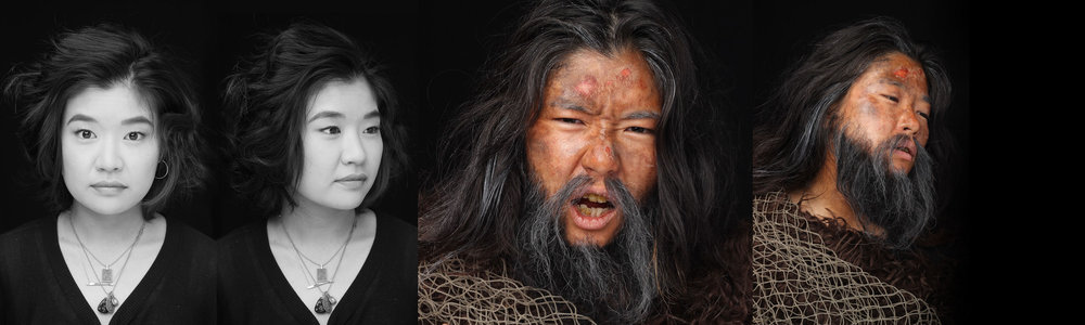 Hand-laid beard, light aging makeup