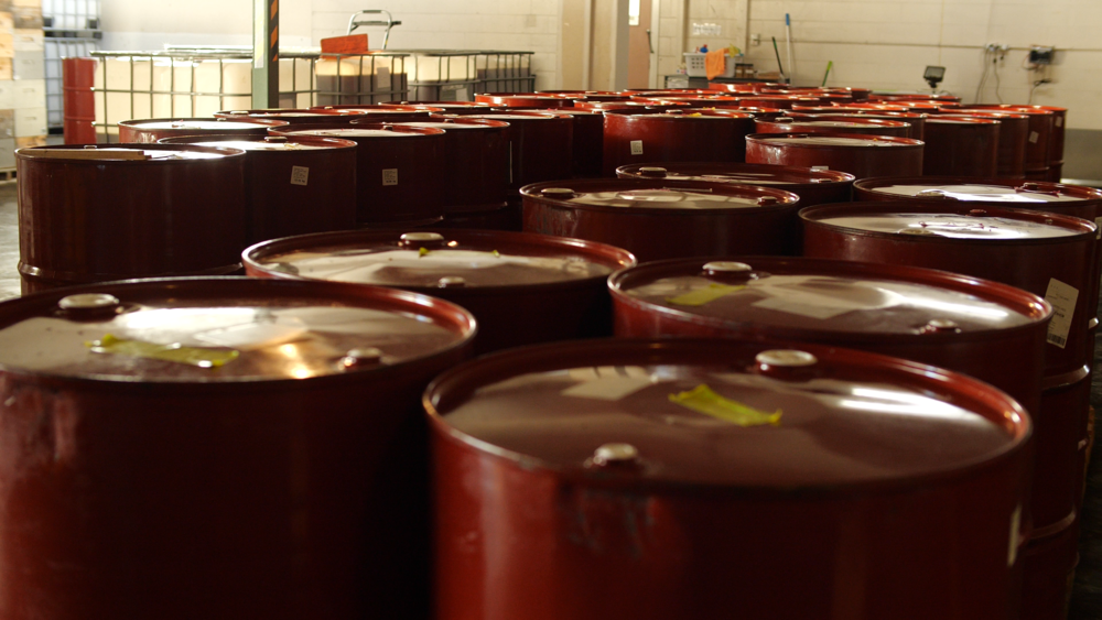 Honey drums in one of our customer's warehouses