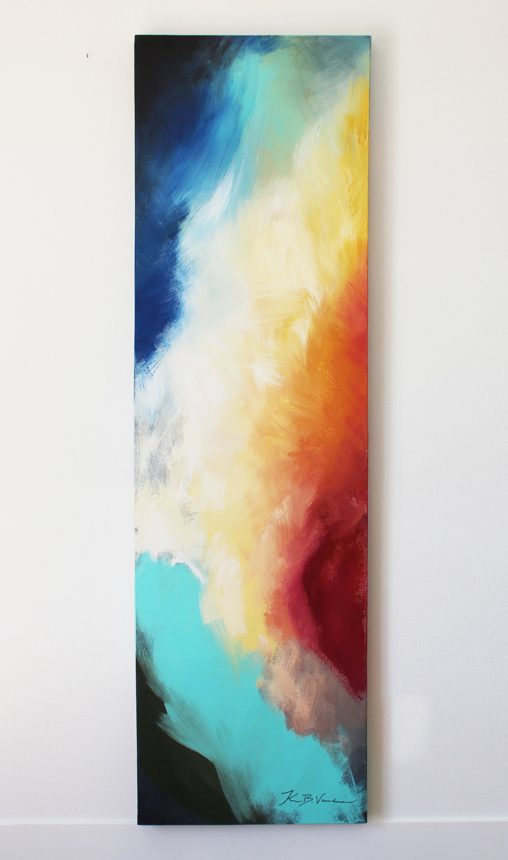 "- Title: Etta 1, Acrylic on canvas, 22"" x 74"" x 1.5"", contact for pricing"