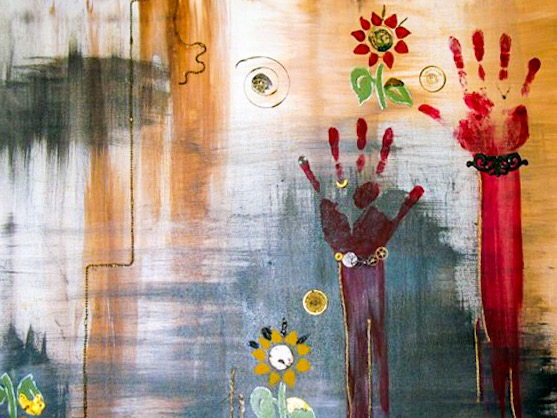 """""""HANDS OF TIME"""" - ACRYLICS AND FOUND OBJECTS ON CANVAS"""