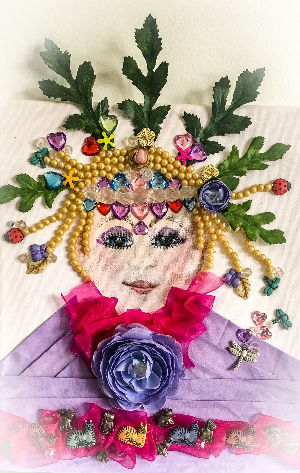 """""""PRINCESS AMELIA"""" lover of all things good - ACRYLICS AND FOUND OBJECTS ON CANVASSOLD"""