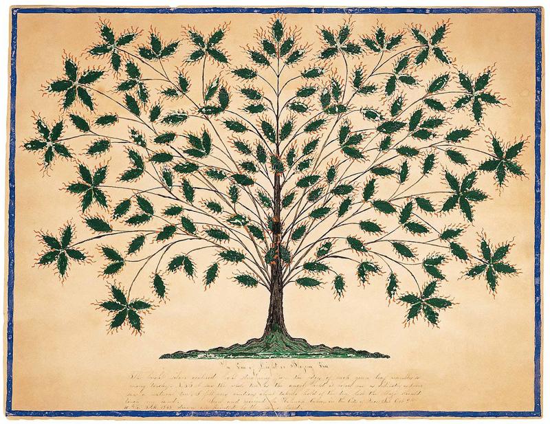 Hannah Cohoon, Tree of Life or Blazing Tree, 1845