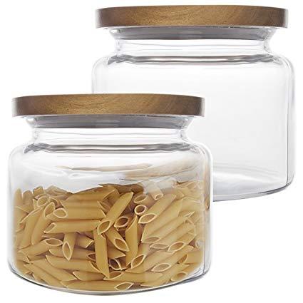 1.5 Quart Anchor Hocking Glass Acacia Jar with Montana Lid -