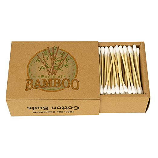 World of Bamboo Cotton Buds - No plastic here. These are made of wood, cotton and bamboo. A very easy switch!