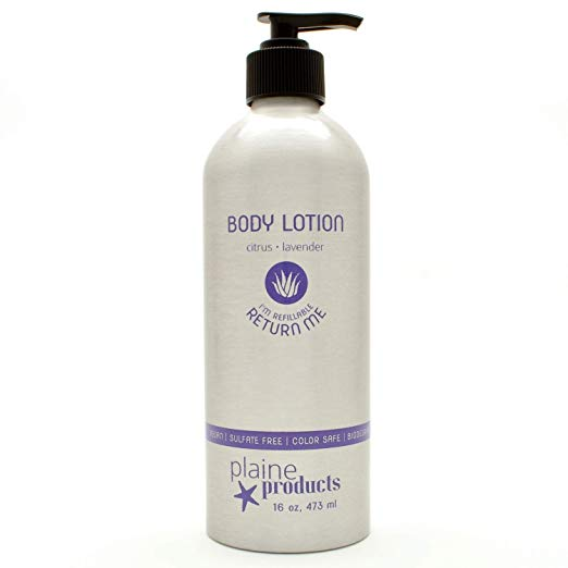 Plaine Products Body Lotion - A wonderful citrus and lavender scented body lotion in refillable and sustainable packaging.