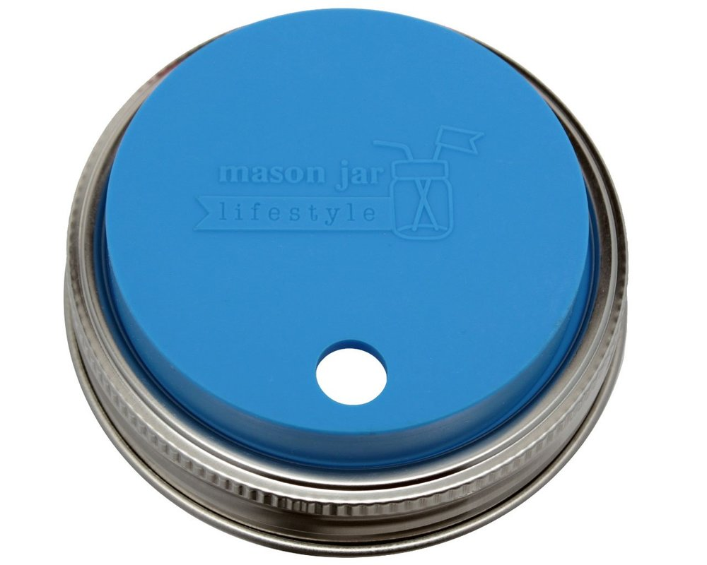 MJL Silicone Straw Hole Tumbler and Fermentation Lid with Rust Proof Band for Mason Jars - A great option for at home or on the go drinking in your mason jar. They have a wide mouth or regular mouth jar option. Don't forget your reusable straw!