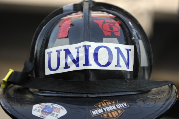 Image: Fireman's helmet with union sticker