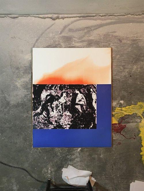 IMG023_attic_vase , 2017, gesso, acrylic, pigment transfer, oriented strand board, 31 x 23 in.