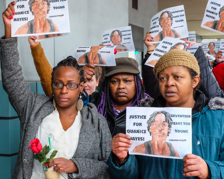 Mother Venus Hayes and family of Quanice Hayes, a 17-year-old killed by Portland Police on February 9, 2017, head to the City Council on March 1, 2017 to address Mayor Wheeler and demand transcripts of the grand jury. Photo by Kathryn Kendall.