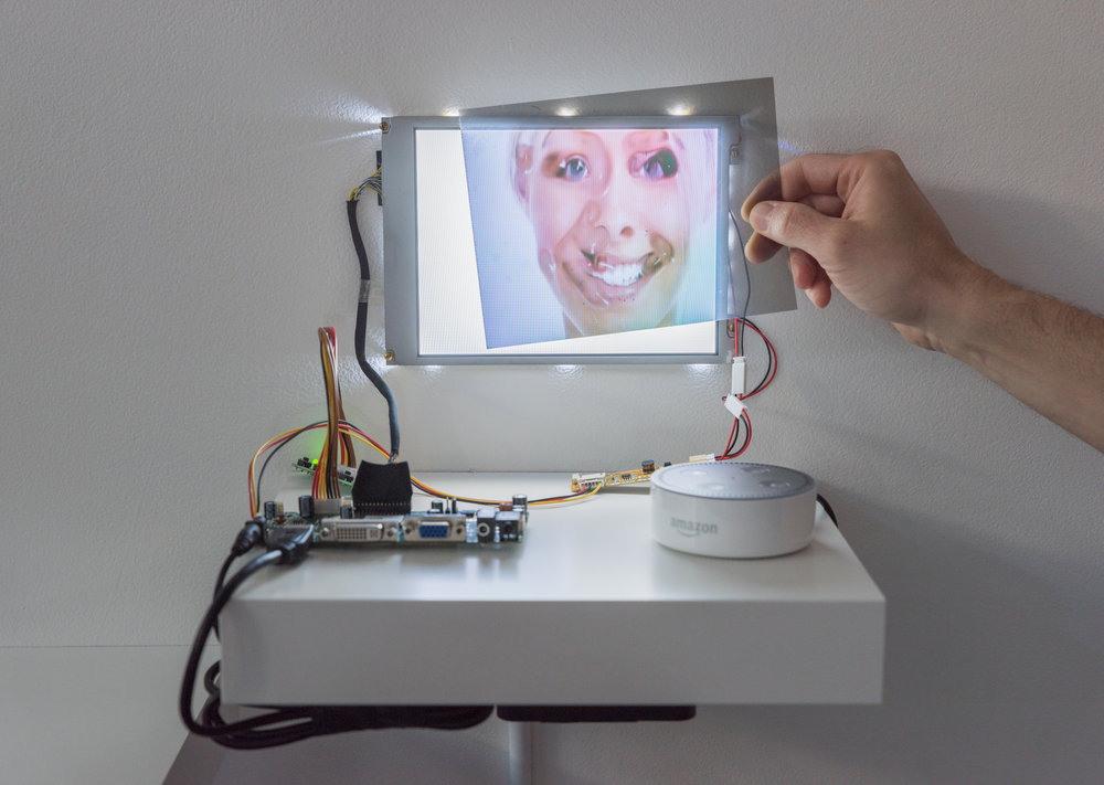 Emotional Mechanics , 2018  8.4 in. LCD, Amazon Echo Dot, High-definition video, color, 01:36 loop
