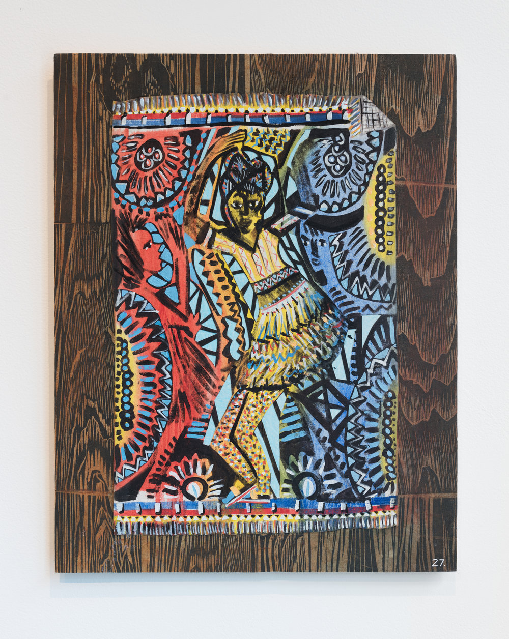 Cut a Rug 27 , 2018  Woodblock print, acrylic, and oil on muslin laminated to board  20 x 14 in.