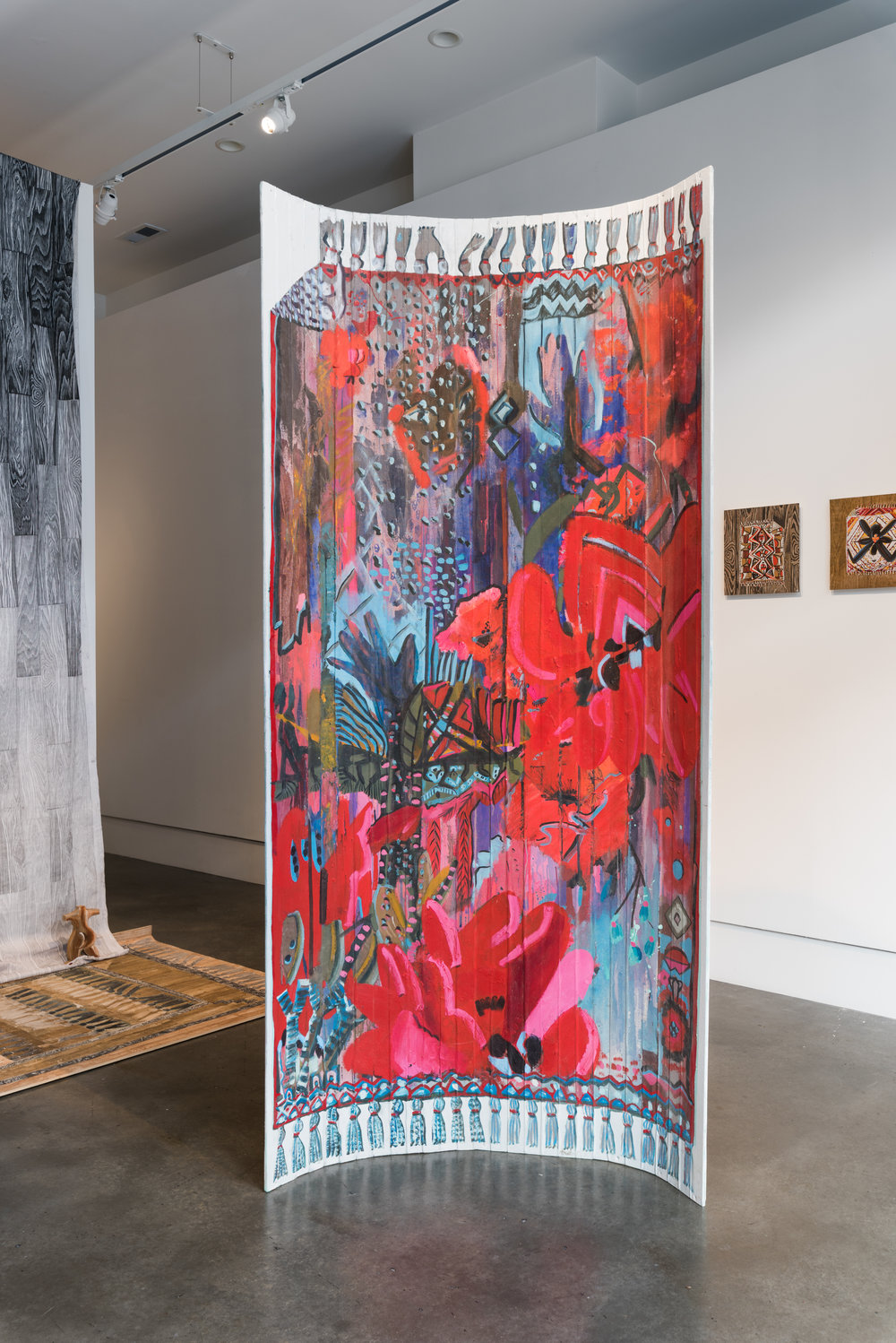 Red Bloom Boom , 2016  Acrylic, oil, enamel on canvas laminated pine slats  42 x 82 in.