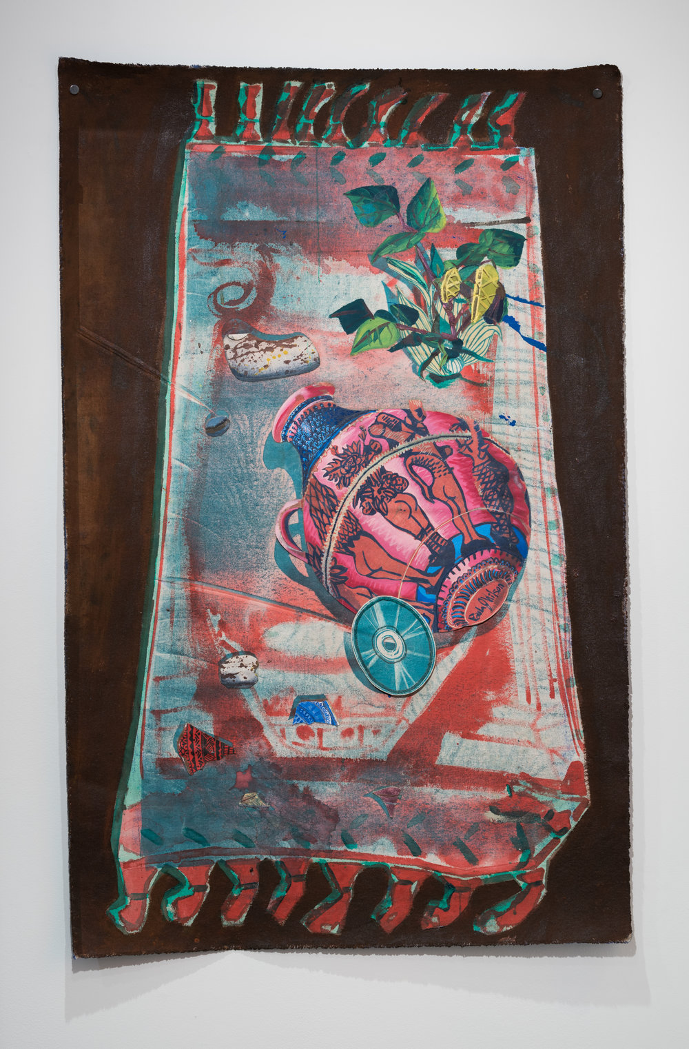 Another Time Today , 2018  Monotype, woodblock print, acrylic and oil on canvas  29 ½ x 46 in.