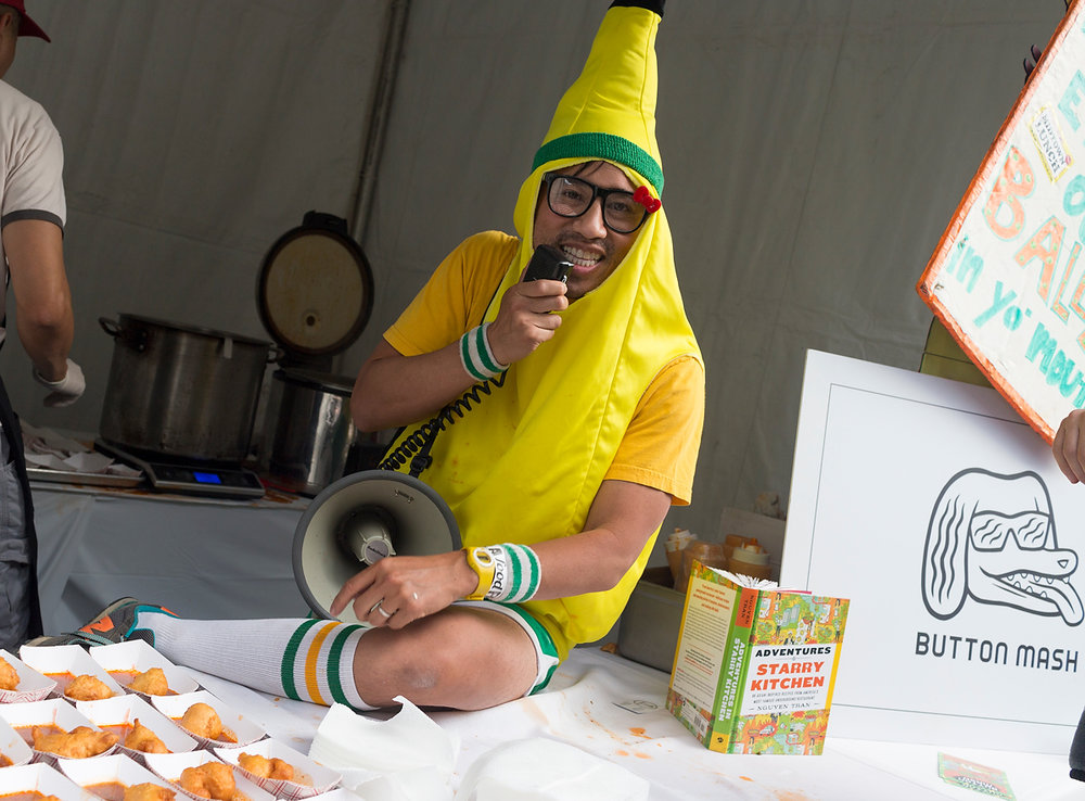 Our resident banana, letting us all know some fresh bites are ready for tasting. — LA Food Fest | LA's original tasting event | June 29, 2019 at Santa Anita Park, Arcadia, CA