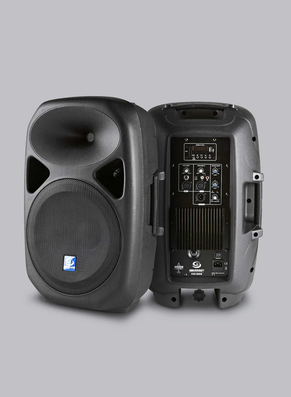 PXB120USB /PXB150USB - • Powered Speaker with USB and SD Media Player• 2-way professional speaker, trapezional design• ABS impact resistant light weight system• Extreme powerful woofer• Wide dispersion horn• LED display• Includes remote controlLearn More