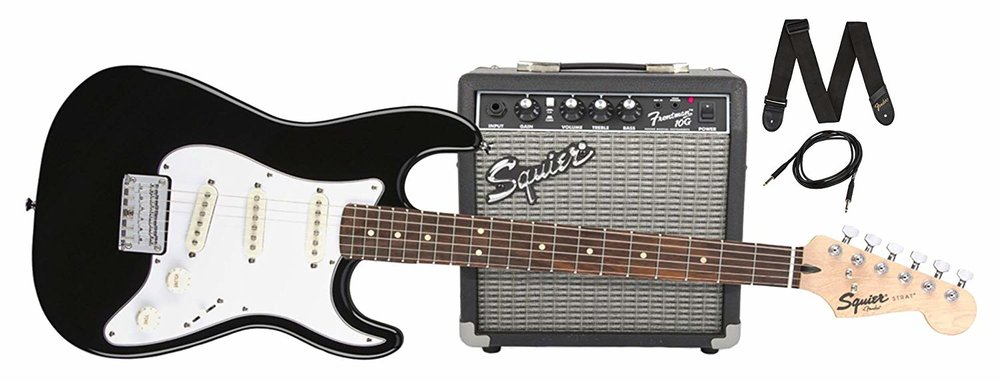Fender Squier - • Fender Squier - short scale neck.• 10w Amp, Cable, Picks, & Strap included.• Ideal for anyone who is more interested in an electric guitar.