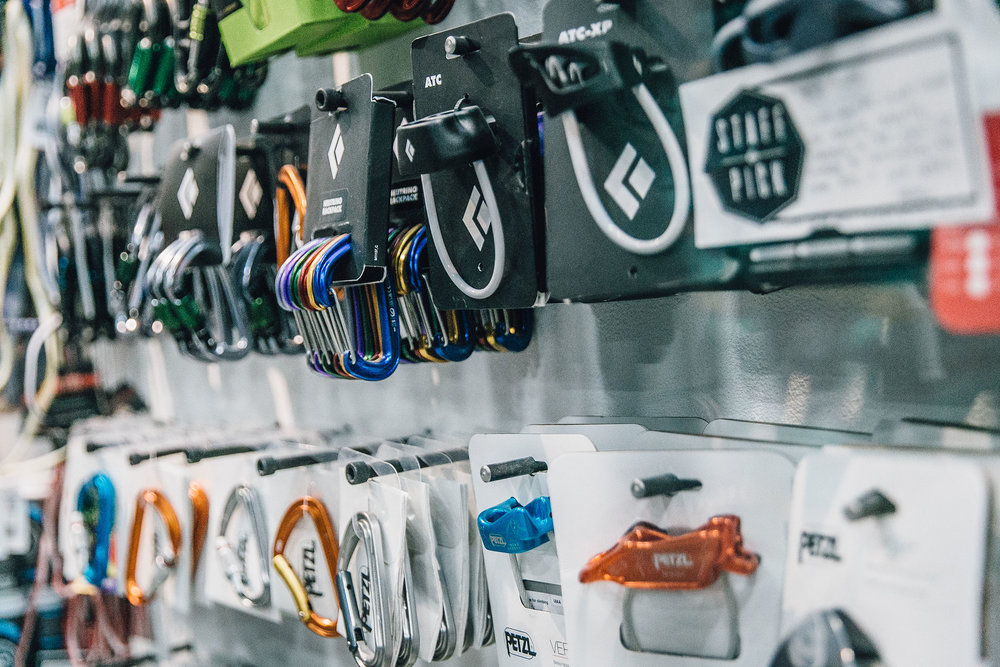 belay devices - We carry a variety of belay devices, including the ATC + ATC guide, GriGri, and DMM Pivot.