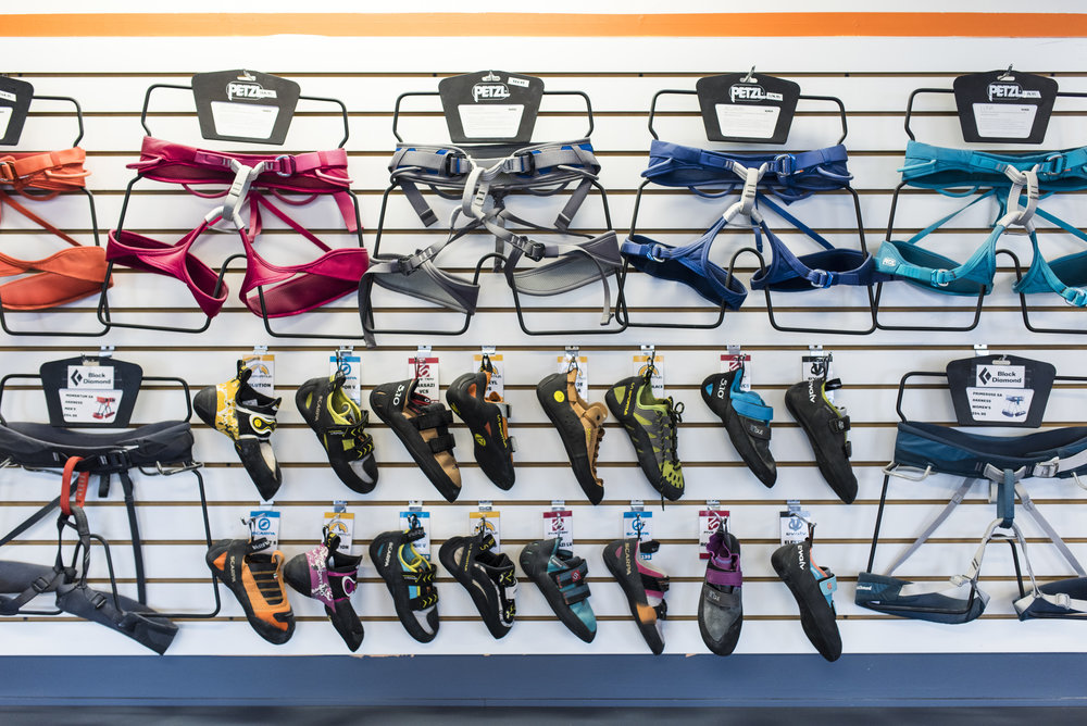 Gear Shop - From your first chalk bag to your first trad rack, we've got everything you need to climb indoors and out. Check out our extensive climbing shoe selection!