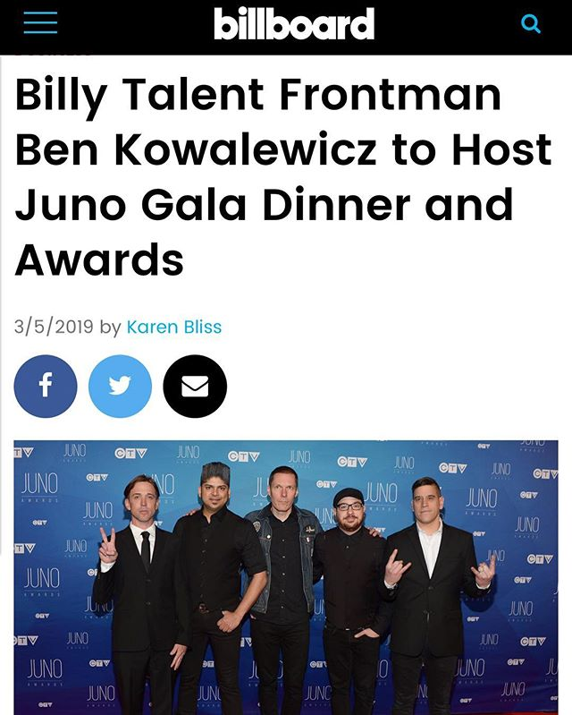 Who's excited for @thejunoawards?? We definitely are now that Ben Kowalewicz of @billytalentband will be hosting the Juno Gala Dinner! Full article on Billboard. #billytalent