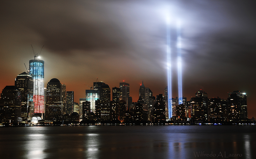 Photo by Wilfredo Lazaro of the Memorial Lights on 2011
