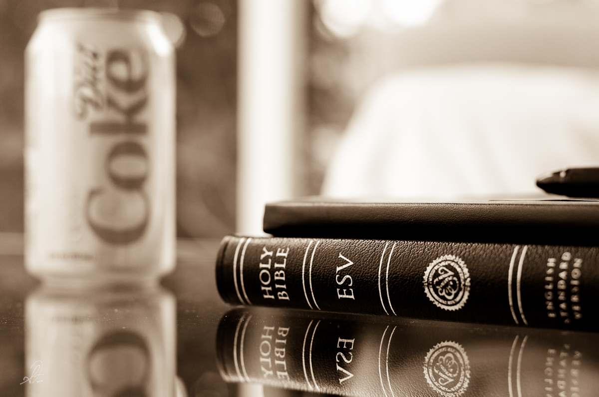 The ESV Bible, a Moleskine Journal, and a Diet Coke