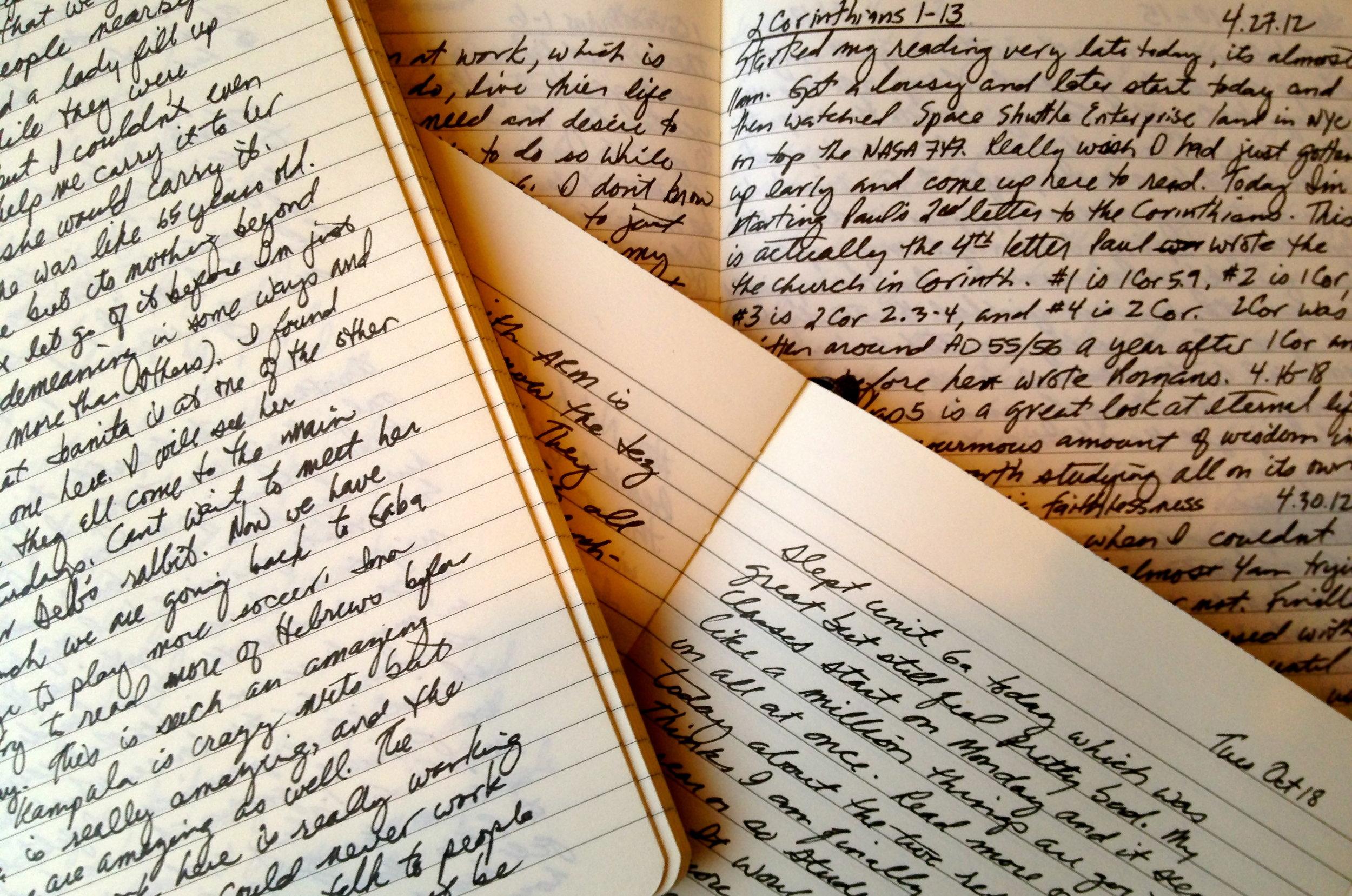 Writing Sample of Moleskine Journals