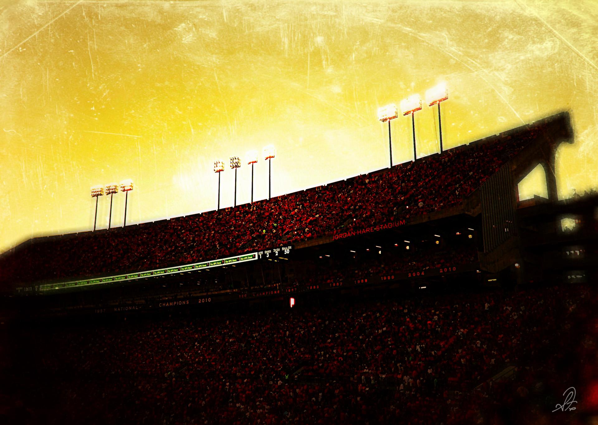 Jordan-Hare Stadium as the Sun Sets at Auburn vs LSU